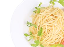 Close up of spaghetti with basil Royalty Free Stock Photos