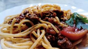 Close up of spaghetti with bolognese sauce. stock photos