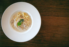 Close up of Spaghetti cream sauce tuna and mushroom royalty free stock images