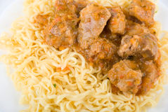 Close up of spaghetti and meat Stock Images
