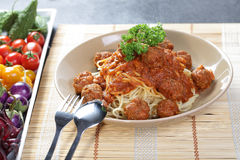 Close up Spaghetti Meatball Stock Images