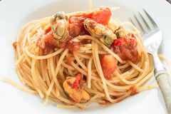 Close up Spaghetti with mussels Stock Photos