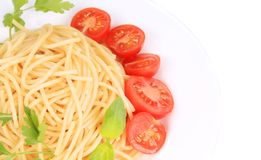 Close up of spaghetti with tomato and Stock Photos