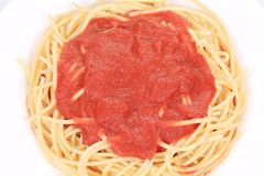 Close up of spaghetti with tomato sauce Royalty Free Stock Images