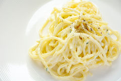 Close up of spaghetti white cream sauce Stock Photos