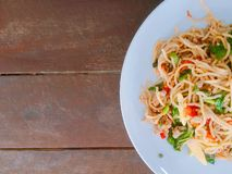 Close up spaghetti on white plate.Food concept royalty free stock photography