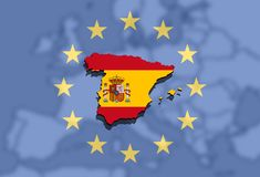 Close up on Spain map on Europe and Euro Union background Royalty Free Stock Photography