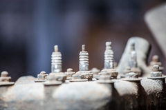 Close-up of spark plug of old engine Royalty Free Stock Photography