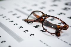 Close-up of spectacles on eye chart Stock Photography