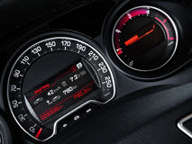 A close-up of speedometer and tachometer. Stock Image