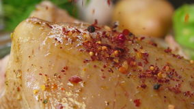 Close-up of spices on the chicken falls stock footage