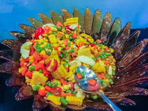 Close up spicy corn and papaya salad, one type of Somtum, the Royalty Free Stock Photos