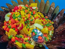 Close up spicy corn and papaya salad, one type of Somtum, the Royalty Free Stock Image