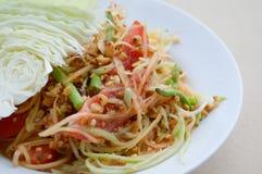 Spicy papaya salad. Close up spicy papaya salad - Thailand healthy food Royalty Free Stock Image