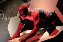 Close up Spiderman. LAS VEGAS, USA - Oct 10, 2017: Close up Spiderman, Madame Tussauds museum in Las Vegas royalty free stock photo