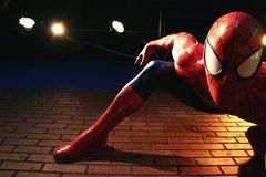 Close up Spiderman, Madame Tussauds museum. LAS VEGAS, NEVADA US - Oct 29, 2014: Close up Spiderman, Madame Tussauds museum in Las Vegas stock photos