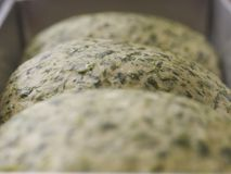 Close up spinach bread Royalty Free Stock Photography