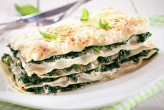 Close-up of a spinach lasagna on a plate Royalty Free Stock Photo