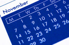 Close up of spiral bound calendar. Royalty Free Stock Image
