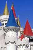 Close up of Spires on the Excalibur Hotel and Casino, Las Vegas, NV Stock Photo