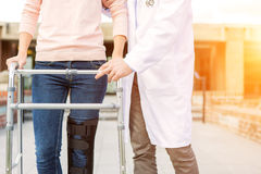 Close up of a splint and zimmer frame Royalty Free Stock Images