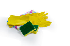 Close up of sponges and gloves with napkin Royalty Free Stock Image
