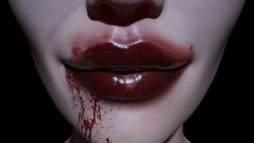 Close-up of Spooky woman smiling mouth in blood. 3d Illustration Scary vampire, close-up of Spooky woman smiling mouth in blood,  Halloween or horror theme Stock Images