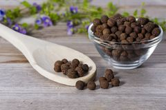Close up on spoon with allspice pimento. On wooden cutting board royalty free stock image