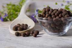 Close up on spoon with allspice pimento. On wooden cutting board stock photo
