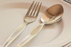 Close-up of spoon and fork Royalty Free Stock Photo