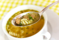 Close up . spoon of hot soup Royalty Free Stock Photos