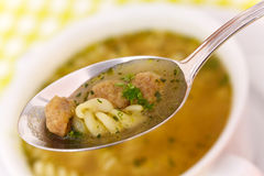 Close up . spoon of hot soup Royalty Free Stock Images