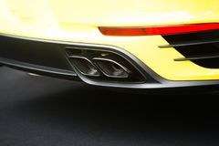 Close up on sport car exhaust pipe Royalty Free Stock Photography