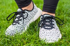 Sportive female training shoes Royalty Free Stock Photography
