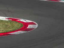 Close up sports competition track with traces of tires royalty free stock photography