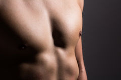 Close up of a sports man's chest Royalty Free Stock Photos