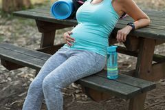 Healthy fitness expectant mother taking a workout rest stock images