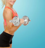 Close up of sporty woman with heavy steel dumbbell Royalty Free Stock Photo