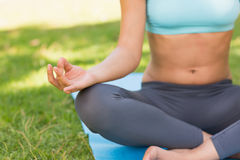 Close-up of a sporty woman in lotus pose at park Royalty Free Stock Photos