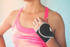 Close up sporty woman in pink color sport bra, Breast cancer, He stock photo