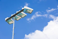 Close-up spotlight of stadium on the sky. Stock Image
