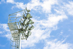 Close-up spotlight of stadium on the sky. Royalty Free Stock Images
