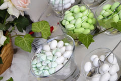 Close-up of spouses of decorative table. Close-up of decorative candy table with the bride and groom Royalty Free Stock Images