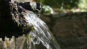Mountain wellspring. Close-up of the spout of a mountain fountain with crystalline, pure and bright water.Low angle.Two play speeds: five seconds slow motion stock video