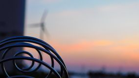 Close up Sprial in front of wind turbines royalty free stock photos