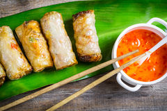 Close-up on spring rolls and sweet and sour sauce Stock Photos