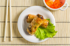 Close-up on spring rolls with sweet and sour sauce Royalty Free Stock Image