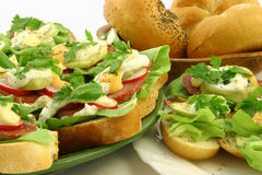 Close up at spring time sandwiches. Close up at tasty fresh springtime sandwiches with bedrolls on background Royalty Free Stock Image