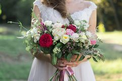 Close up of spring wedding bouquet stock images