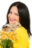Close up of spring woman with bunny Stock Images